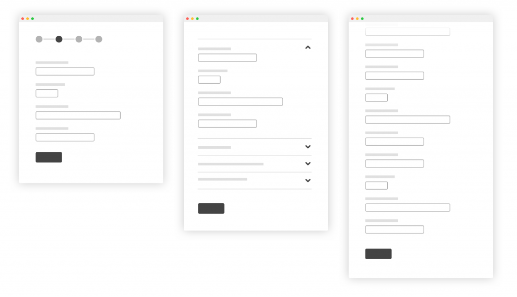 Wireframes of form interactions.