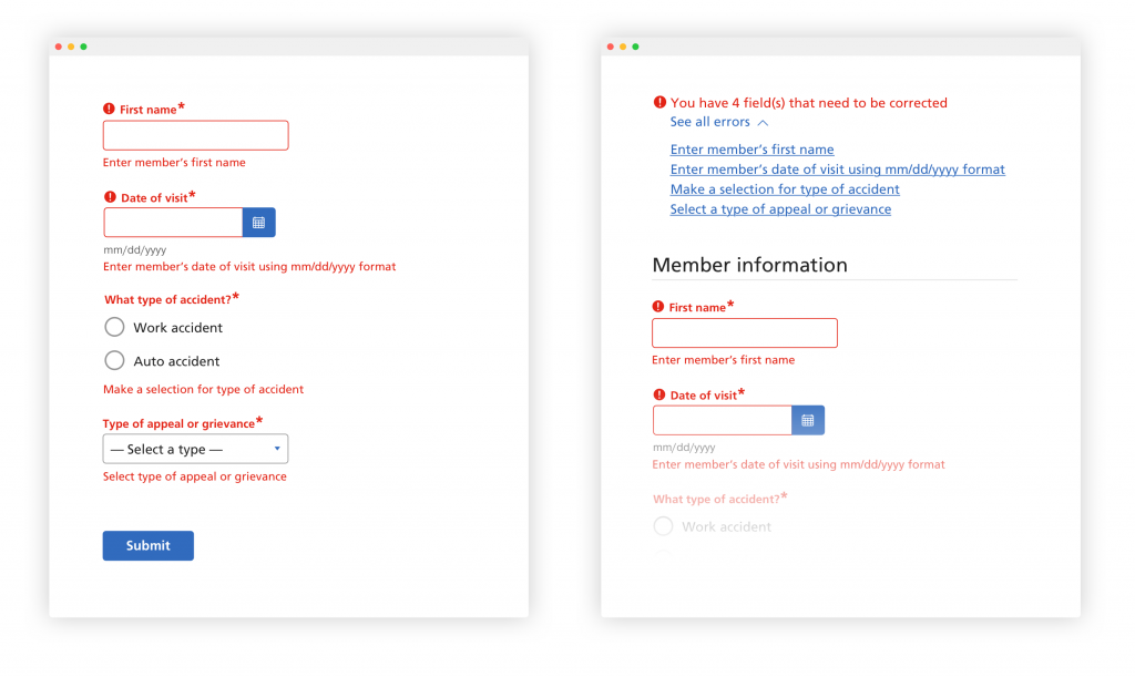 Mockup of example form error messages and error handling.